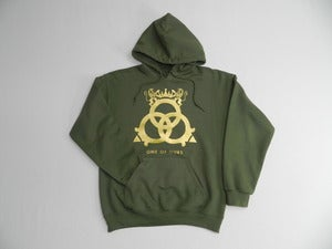 Image of Military Green Hooded Sweatshirt Vegas Gold Logo
