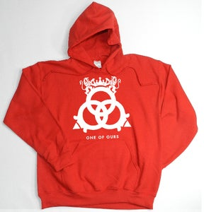Image of Red Hooded Sweatshirt White Logo