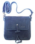 Image of No.90009 mini messenger bag. charcoal suede
