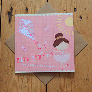 Image of Carnival Kids -  Ballerina And Kite Birthday Card
