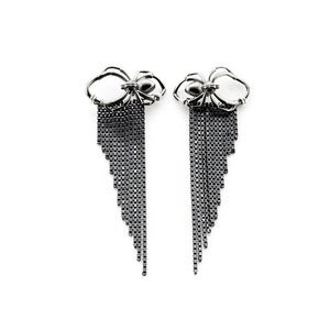 Image of Spider Drape Chain Earrings Black, Gold