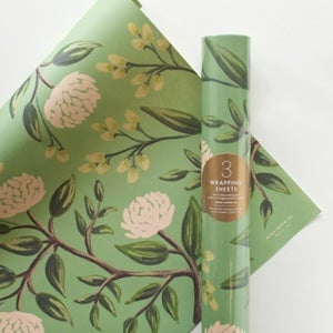 Image of Papel de regalo - Flores verdes