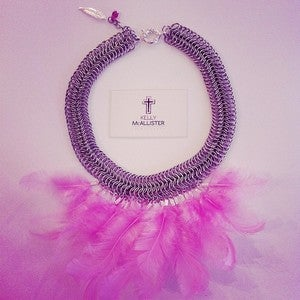 Image of Pink Chain Mail Necklace
