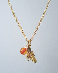 Image of Bumbling Along Bee and Amber Necklace