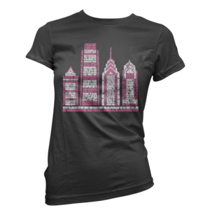 Image of Women's Philly Skyscraper Tee (Black/Pink)
