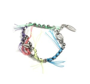 Image of Let Them Eat Cake Crystal & Spike BFF Bracelet W/Multi Bright Threads - Crystal/Multi Bright