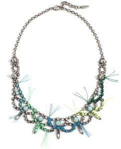 Image of Let Them Eat Cake Crystal Necklace W/Blue Combo Thread Details - Crystal/ Blue Combo