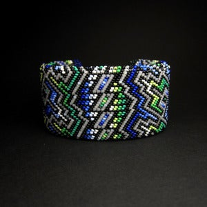 Image of Blue and Green Beaded Bracelet