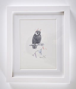 Image of FRAMED OWL WITH BUNTING A5 PRINT.