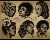 Image of Black Pinup Ladyhead Sheet