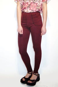 Image of high-waisted cherry gingham leggings