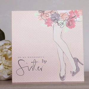 Image of 'Wonderful Sister' Hand Embellished Card