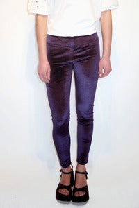 Image of blue stretch velvet high waisted leggings