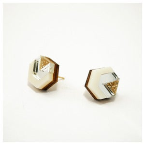 Image of Little Hex Studs - Glitter