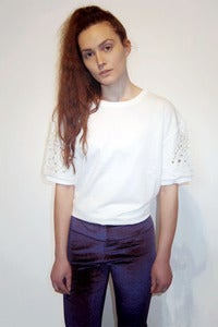 Image of embroidered short sleeved sweater