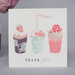 Image of Pack Of Six Cupcakes Thank You Notecards