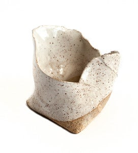 Image of White on Speckle Free-form Folded Planters