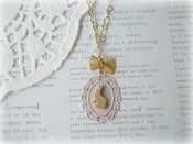 Image of Gold Bunny on Pink Frame Necklace