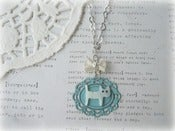 Image of MOP Cat on Blue Frame Necklace