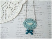 Image of MOP Bird on Blue Frame Necklace