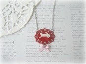 Image of MOP Bunny in Red Frame Necklace