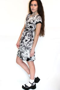 Image of monochrome tie dye skater dress