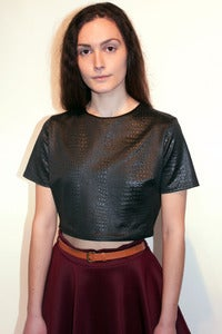 Image of textured stretch leatherette crop top
