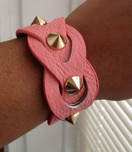 Image of Pink Spiked Vegan Leather Bracelet
