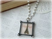Image of Square Framed Eiffel Tower Necklace