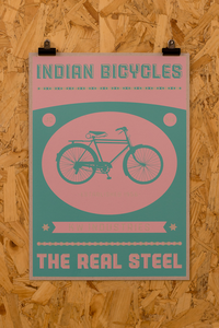 Image of The Indian Bicycle Shop 'The Real Steel' print Pink/Green