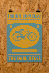 Image of The Indian Bicycle Shop 'The Real Steel' print Yellow/Blue