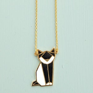 Image of Origami Fox Necklace in Black