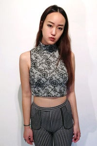 Image of floral print turtle neck crop top