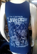 Image of love 4 year anniversary campout blue tank top silver print