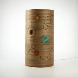 Image of Walnut freestanding lamp. Random Circles.