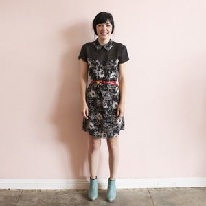 Image of Carrie Parry floral sweetheart dress