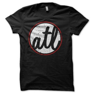 Image of Atlanta 'ATL' Circle Graphic T-Shirt - Black / White / Red