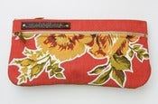 Image of double zip clutch in tomato with vintage floral appliques (c)