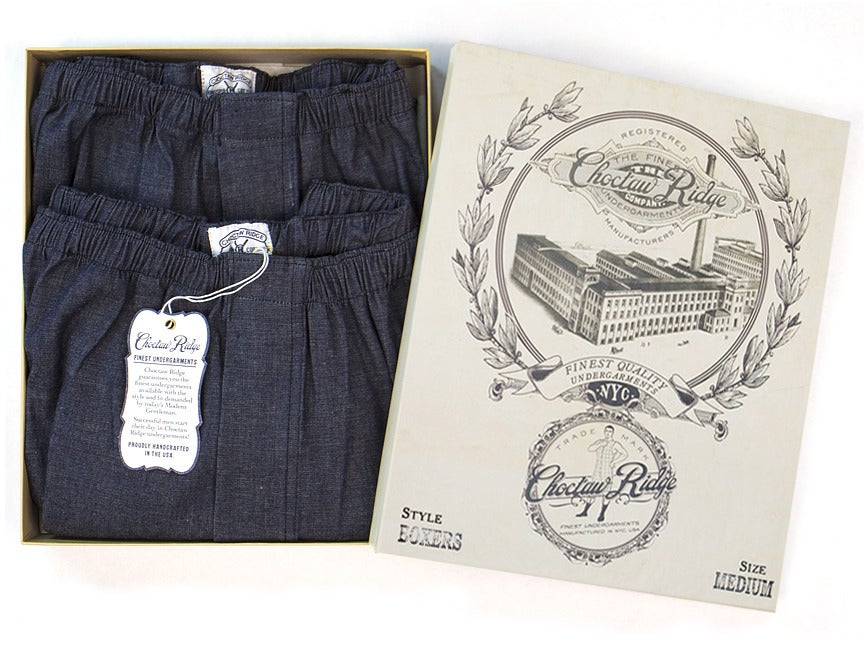 Image of Dark Blue Chambray Boxers (2 Pack)