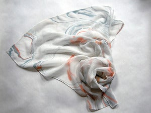 Image of Marbled Silk Chiffon Scarf iii