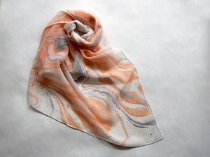 Image of Marbled Silk Chiffon Scarf iv