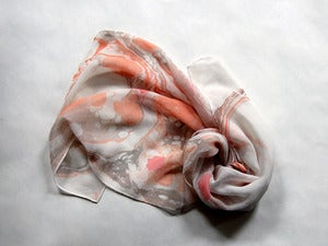 Image of Marbled Silk Chiffon Scarf vi