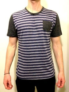 Crew Neck w/ Pocket Blue Stripes