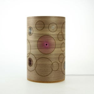Image of Walnut freestanding lamp. Random Circles. Small