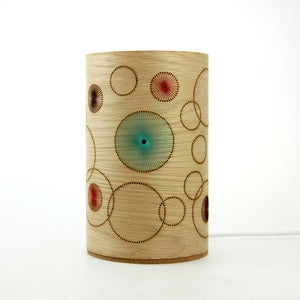 Image of Oak freestanding lamp. Random Circles