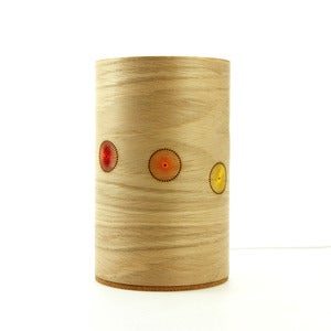 Image of Oak freestanding lamp. Line of Circles.