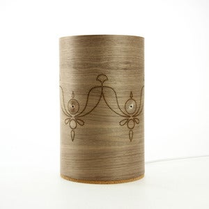 Image of Walnut freestanding lamp. India.