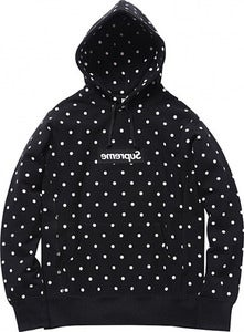 Image of Supreme x COMME des GARCONS Polkadot Hoodie (BLACK)