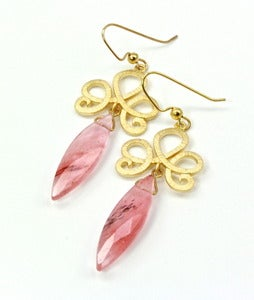 Image of Rutilated Quartz and 14K Gold-Plated Brass Earrings