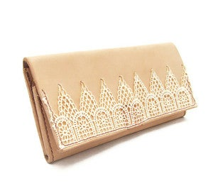 Image of Lace and Leather Womens Wallet - Made in USA